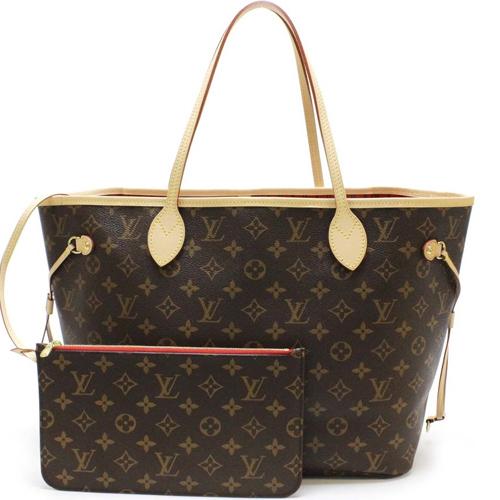 Louis Vuitton LV M41177 NEVERFULL MM 經典花紋子母束口購物包.櫻桃紅_預購