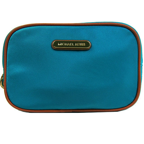 MICHAEL KORS輕 楕圓標輕巧尼龍化妝包(藍綠)