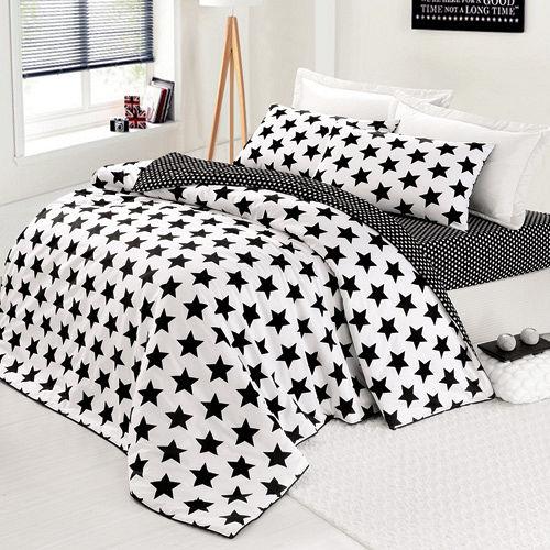 GOLDEN-TIME-酷黑星光-純棉-加大四件式兩用被床包組