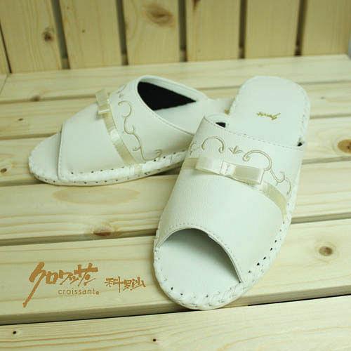 【クロワッサン科羅沙】手工限量室內鞋 TI 柳葉皮拖 白色 27CM