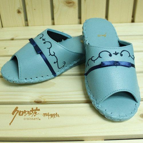 【クロワッサン科羅沙】手工限量室內鞋 TI 柳葉皮拖 藍色 26CM