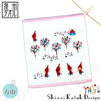 【クロワッサン科羅沙】日本毛巾~加藤真治童話故事系列~小紅帽花樹帕方巾 30*30CM