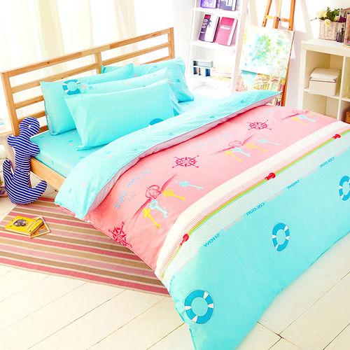 FOCA《快樂饗宴》加大100%精梳棉四件式舖棉兩用被床包組