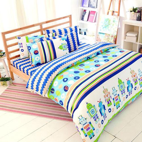 FOCA《快樂機器人》加大100%精梳棉四件式舖棉兩用被床包組