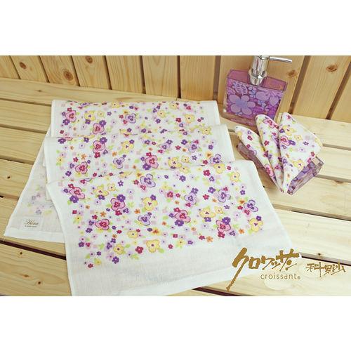 【クロワッサン科羅沙】日本毛巾~Japanese style 「Hana」粉紫黃三色三瓣花 毛巾30*90 cm