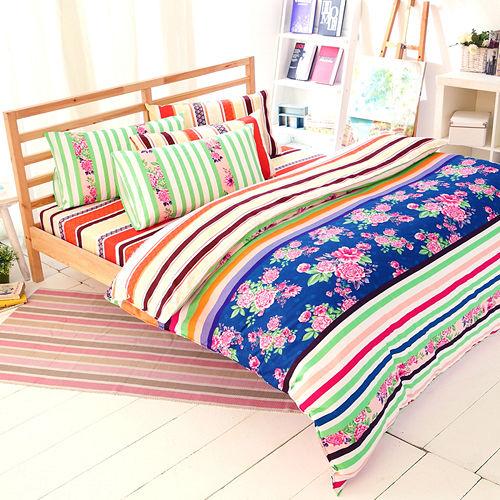 FOCA《年華似景》加大100%精梳棉四件式舖棉兩用被床包組