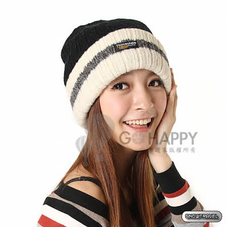 SNOWTRAVEL 3M防風透氣保暖羊毛帽(條紋黑)