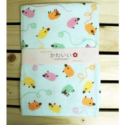 【クロワッサン科羅沙】日本毛巾~Japanese style「かわいい」羊得意 浴巾(嬰兒包巾) 55*115CM