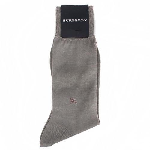 BURBERRY 經典戰馬LOGO素面長筒紳士襪-淺灰色