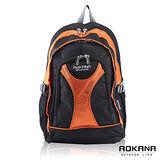 【AOKANA奧卡納】休閒電腦後背包(橘/黑-68-045)