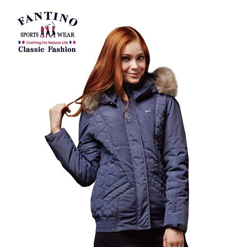 【FANTINO】女裝 寒冬嚴選保暖連帽外套(丈青)485206