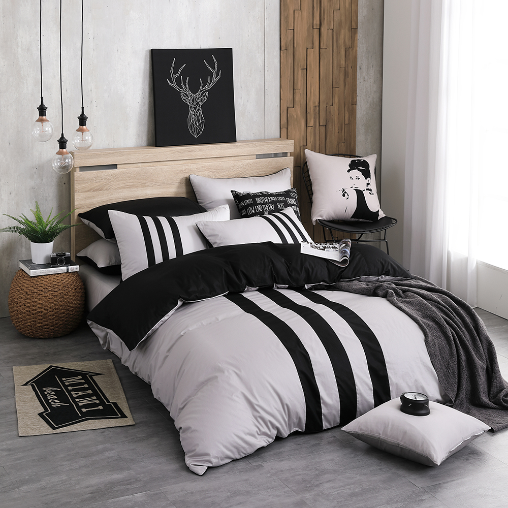 OLIVIA 《 REMIX1 銀灰X黑 》標準雙人床包枕套組 素色無印簡約