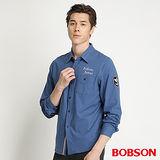 BOBSON 男款合身版襯衫型針織長袖上衣(藍34006-58)