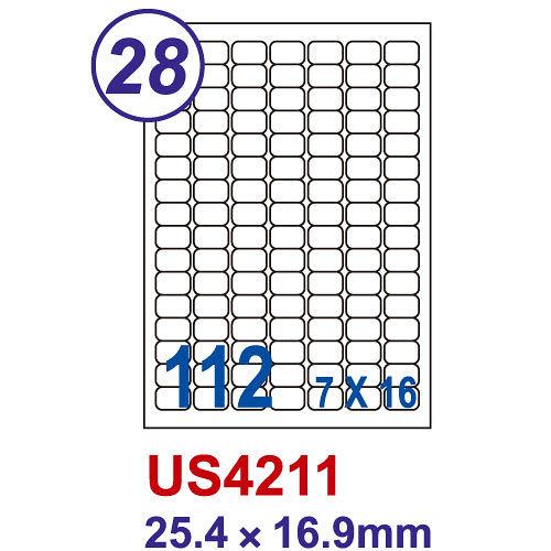 【Unistar 裕德 112格 電腦標籤】 US4211 25.4×16.9mm (100張/盒)