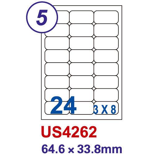 【Unistar 裕德 24格 電腦標籤】 US4262 64.6×33.8mm (100張/盒)