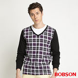 BOBSON 男款合身版仿兩式長袖上衣(紫34009-63)