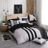 OLIVIA 《REMIX1 銀灰X黑》加大雙人床包鋪棉冬夏兩用被套組 素色無印簡約