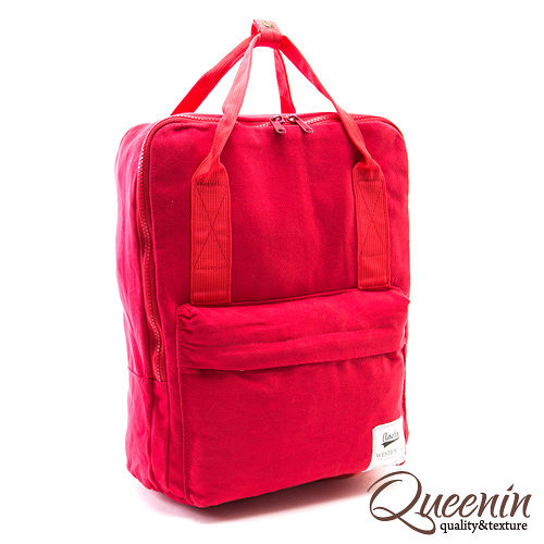 DF Queenin日韓 - 日本熱銷休閒輕尼龍款後背包-紅色