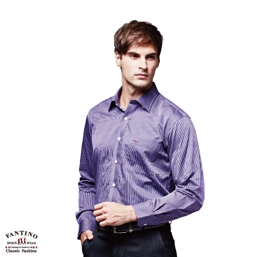 【FANTINO】男裝 時尚純棉襯衫(紫.丈青)444109-444110