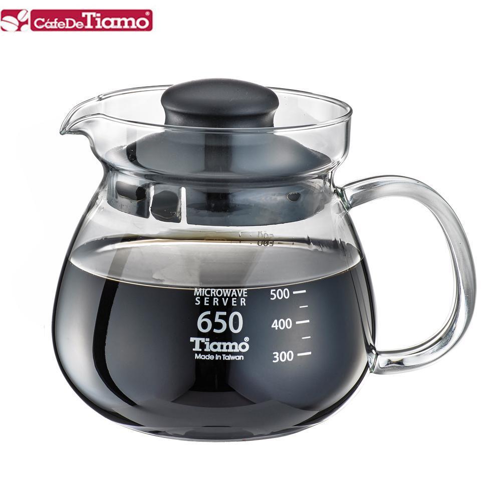 Tiamo 玻璃壺(玻璃把手) 650cc (黑色) HG2202BK