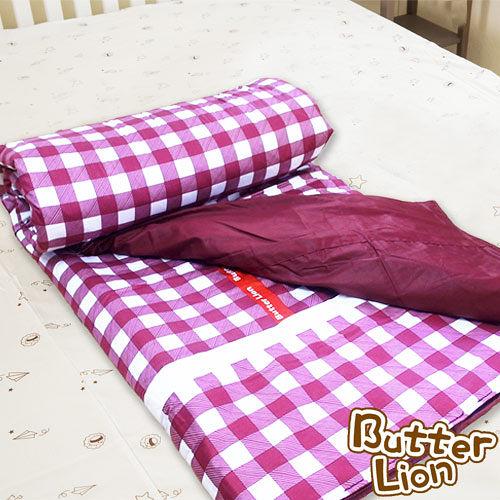 【奶油獅】格紋系列-台灣製造-100%精梳純棉兩用鋪棉被套/四季被(紅)-雙人