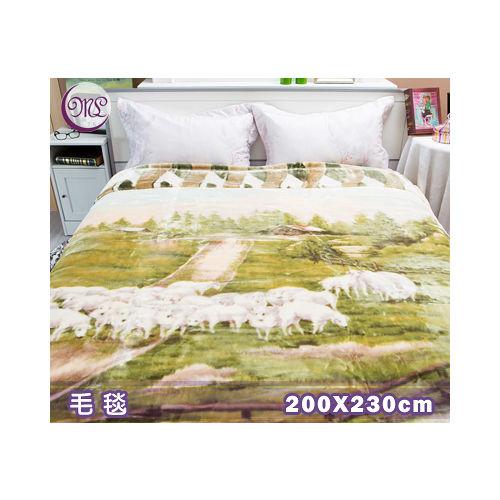 Royal Duck超柔長金貂毛毯.日本超極細合纖素材.綠綿羊群.200*230cm