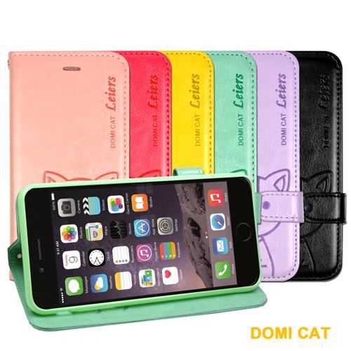 DOMI Apple iPhone 6 Plus 可愛貓咪圖騰磁扣式翻頁皮套 Apple iPhone 6 Plus 專用