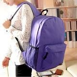DF Queenin日韓 - 韓版潮流休閒款素色後背包-紫色