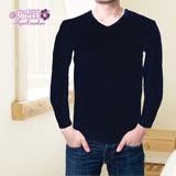 【安吉絲】POWER MAN 柔軟輕盈.內磨毛時尚V領素面發熱衣/M-XL(黑色)