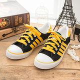 中國強 MIT 百搭休閒帆布鞋CH81(黑黃)女鞋
