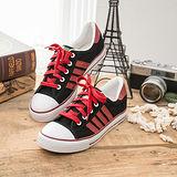 中國強 MIT 百搭休閒帆布鞋CH81(黑紅)女鞋