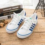 中國強 MIT 百搭休閒帆布鞋CH81(白藍)女鞋