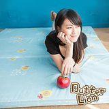 奶油獅 三折記憶聚合收納床墊單人 水藍(3尺)