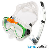 V.DIVE威帶夫潛水精品組-GoProT面鏡101G 白綠色