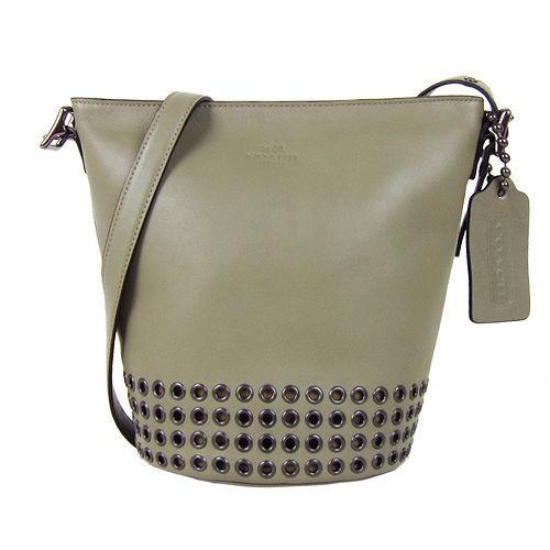 COACH  BLEECKER 全皮革洞洞斜背水桶包(小/灰綠)