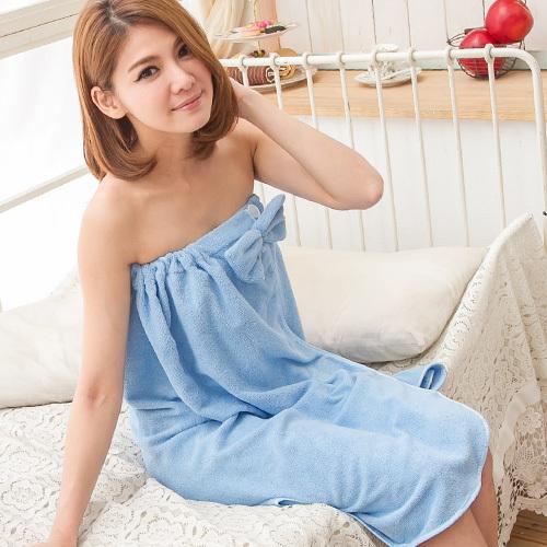 天使霓裳 迷戀甜愛 甜蜜蝴蝶結浴巾(藍)