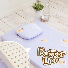 奶油獅 精梳純棉乳膠嬰兒床墊(大)+塑形圓枕 兩件組(三色可選)