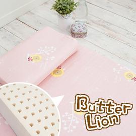 奶油獅 精梳純棉乳膠嬰兒床墊(大)+工學枕 兩件組(三色可選)