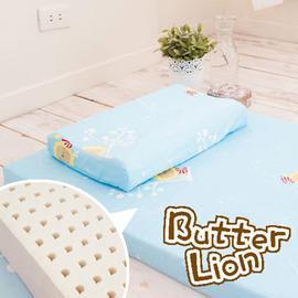 奶油獅 精梳純棉乳膠嬰兒床墊(小)+工學枕 兩件組(三色可選)