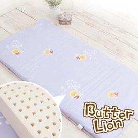 奶油獅 精梳純棉純天然乳膠嬰兒床墊(大) 幻紫