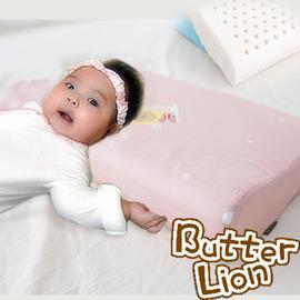 奶油獅 純天然乳膠嬰兒仰睡側睡專用工學枕 粉紅