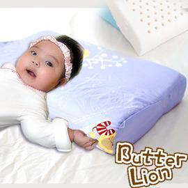 奶油獅 純天然乳膠嬰兒仰睡側睡專用工學枕 幻紫