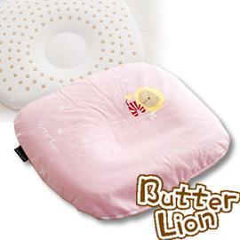 奶油獅 天然乳膠新生嬰兒模塑造形圓枕 粉紅