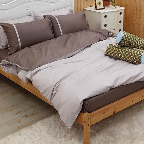 LITA麗塔 舒活系列-米褐 雙人四件式純棉薄床包枕套組