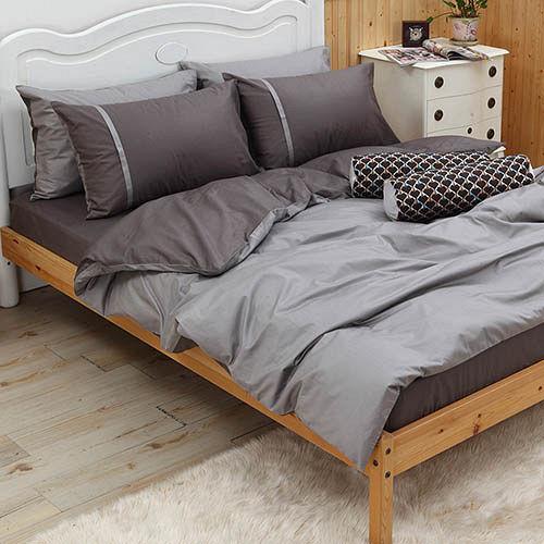 LITA麗塔 舒活系列-灰墨 雙人四件式純棉薄床包枕套組