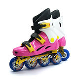 【D.L.D多輪多】鋁合金底座 專業競速直排輪 溜冰鞋 粉紅白 FS-1