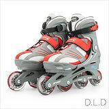 【D.L.D多輪多】兒童可調式伸縮直排輪 軟式鞋殼 溜冰鞋 紅銀色 MAX-300