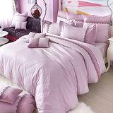 義大利La Belle《凡爾賽玫瑰》雙人長絨細棉蕾絲四件式防蹣抗菌舖棉兩用被床包組