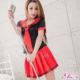 【Anna Mu】 黑衫紅裙三件式學生角色扮演服