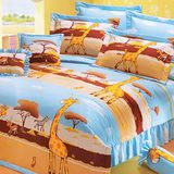 名流寢飾 精梳棉薄被床包組-動物世界 雙人加大6*6.2尺